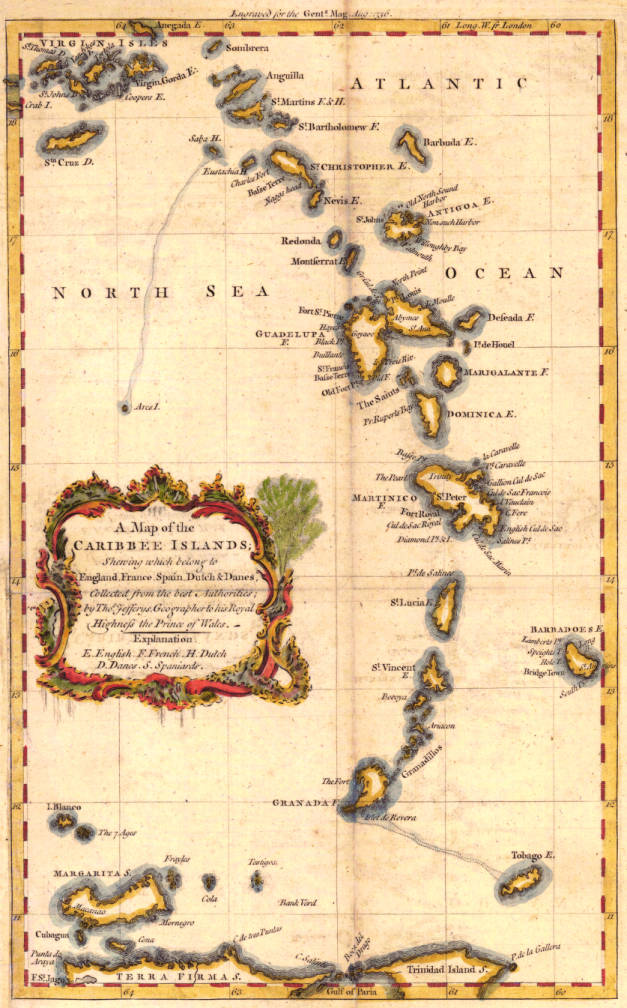 Map Of France England And Spain.A Map Of The Caribbee Islands Shewing Which Belong To England