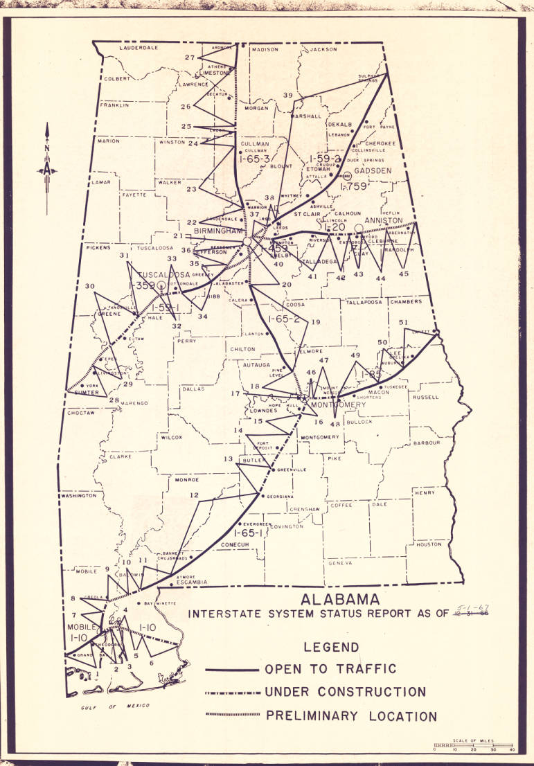 Alabama Interstate System Status Report As Of 5 1 67 Maps