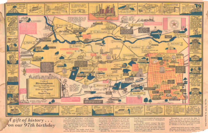 Map Of Life A map of Birmingham wherein Vulcan turns the pages of life and