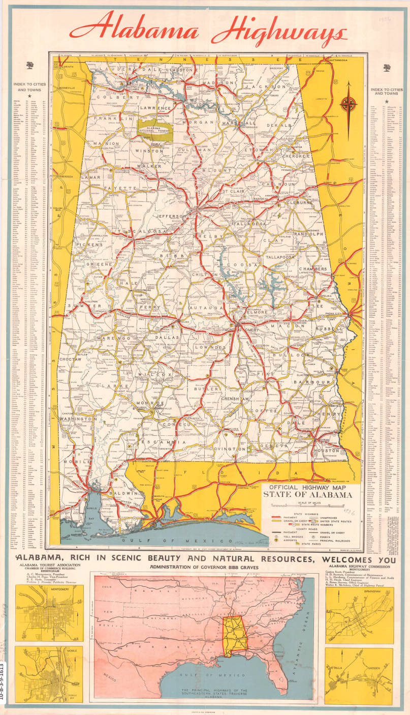 Official highway map state of Alabama. - Maps Project - Birmingham ...