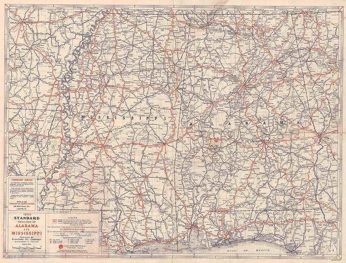 1933 Standard road map of Alabama and Mississippi - Maps ...