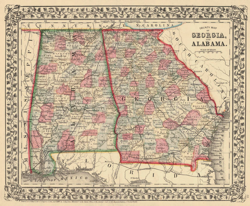 Map Of Georgia And Alabama Together.County Map Of Georgia And Alabama Maps Project