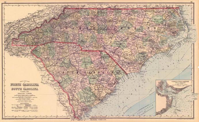 Gray\'s new map of North Carolina and South Carolina - Maps Project ...