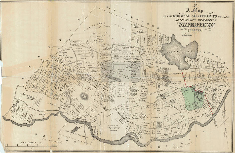Map of the original allotments of land and the ancient topography of ...