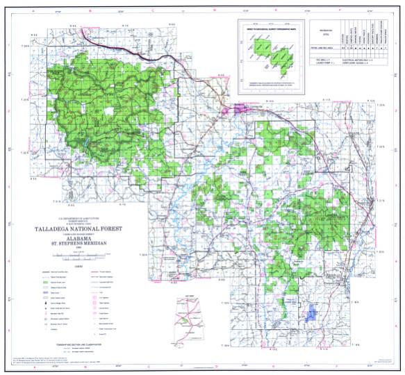 Talladega National Forest Map Talladega National Forest, Oakmulgee Ranger District, Alabama  Talladega National Forest Map