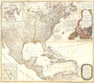 A new and correct map of North America, with the West India Islands : divided according to the preliminary articles of...